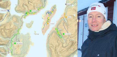 SKAPER UNDRING: Henrik Romsaas har fått mange telefoner om dette kartet, som indikerer at det ikke kjøres opp skiløyper på Tromsøya.