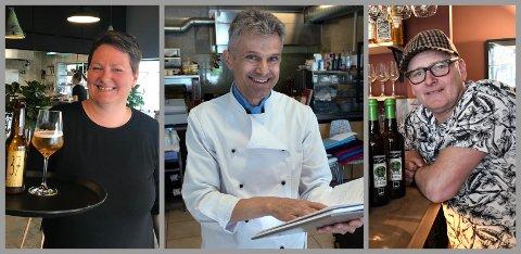 PÅ TOPP: Hanne Kari Manawaduge på 37 Eatery, Marvin Levang på Schnitzelhus og Leif Anders Wentzel på Fauno er kundenes favoritter i Gjøvik.