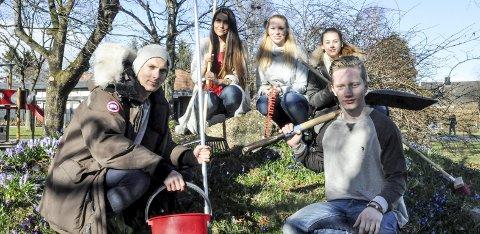 Klare for aksjon: Studenter ved Fredtun Fredrik Bjørklund (21), Vilde Nimki (19), Silje Rørvik (19), Maja Schjølberg Sivertsen (20) og Fredrik Avtjærn er klare for aksjonsuke. foto: vårin alme