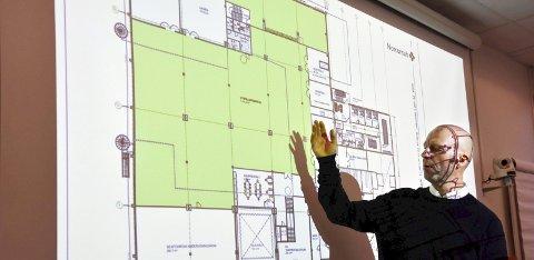 AREAL: I hele andre etasje skal Vitensenter Nordland AS holde til. Der blir det Newton-rom, utstillinger og interaktive løsninger fordelt på 3.100 kvadratmeter. Bildet er tatt i forbindelse med at Fylkesrådet i fjor bidro med 7,5 millioner kroner. Prosjektleder, Torbjørn Aag presenterte i den forbindelse planene.