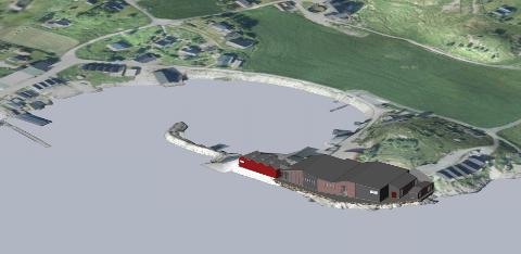 Kvarøy Fiskeoppdrett AS planlegger å bygge et nytt smoltanlegg på industriområdet på Kvarøya. Anlegget skal dekke Kvarøy Fiskeoppdrett sitt årlige behov for smolt. Tegning: Multiconsult