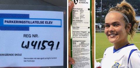 – Det er jo helt feil at jeg skal betale den, mener Nora Gjølberg Lie (18) som er elev ved Nøtterøy vgs.