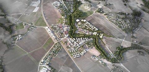 «Den urbane landsby»: Illustrasjonen viser blant annet kontor- og næringsbygg ved togparkeringen, boligutbygging på Klokkerjordet og Wingejordet, bru over fra Wingejordet og Meny-butikk på Klokkerjordet.