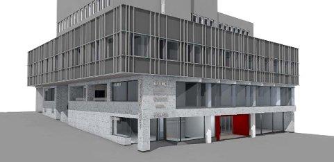NYE FASADER: Skissene viser Citybygget med nye fasader i den nedre delen av bygget. Til sammen skal 10 millioner kroner investeres i fasader og innvendig oppgradering. SKISSE: KONTORBYGG/MEDIATEAM