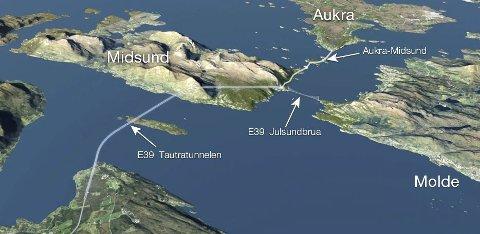 Tautratunnelen (til venstre) er nå planlagt 14,5 kilometer lang. Mens toløpstunnelen på E39 under Boknafjorden er kostnadsregnet til 682.000 kroner pr. løpemeter, mener Statens Vegvesen at de skal kunne bygge Tautratunnelen for 414.000 kroner pr. løpemeter.