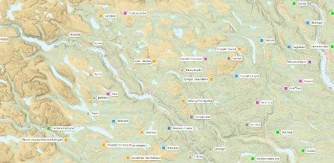 Kart: På skisporet.no ser du når løypemaskina har kjørt. Følg fargekodene for å se timene.