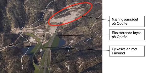 Visualisering nytt to-planskryss på Opofte sett mot vest (Kilde: Video SVVA)
