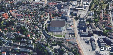 Slik ser man for seg en mulig byarena på Krohnsminde, der det ligger en kunstgressbane i dag.