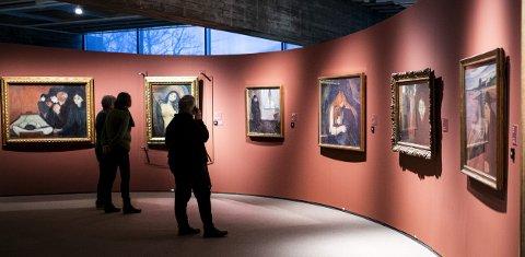 STOR BREDDE: Det unike med utstillingen av Munchs arbeider i Kode er at så mange av kunstnerens hovedverk er samlet. Både «Madonna», «Vampyr»  og «Sjalusi» er av de mest ikoniske Munch-verkene.