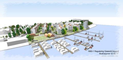 SETT FRA ELVEN: Slik ser utbyggerne for seg at dette området rett ved Floabrua skal se ut i fremtiden: Et høyhus på åtte etasjer nærmest Floabrua (øverst til høyre) og ti andre boligblokker. I tillegg ser de for seg båthavn for beboernes båter i tillegg til husbåter (nederst midt i bildet).