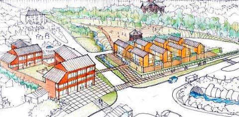 Det er planer om å bygge forretning og leiligheter på begge sider av vegen opp til Holsbakkan i Follebu.