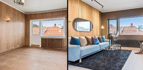 FØR/ETTER: Tore Lindstad har forvandlet leiligheten og valt moderne løsninger. Det har kostet mange arbeidstimer, men 51-åringen er fornøyd med resultatet - også etter salget.