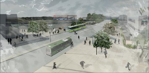 Med avstigning på gateplan i Jernbaneveien kan de reisende gå rett inn på den nye jernbanestasjonen. Illustrasjon: Jernbaneverket.