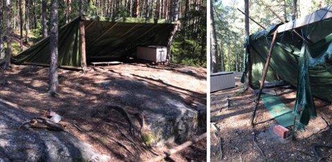 Bildet til høyre viser hvordan det så ut før barnehagen tok grep og satte gapahuken i stand, slik at den nå fremstår som på venstre bilde.