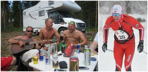 FESTGLAD: Jørgen Stensløkken (i midten) var glad i å være ute på livet. Her sammen med blant andre Rune Rudberg (t.v) i Höljes. Men nå er det nok mer sannsynlig at du møter ham ute i Svartholtet eller på Budor enn på en fest.