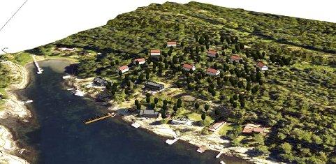 Attraktiv beliggenhet: En av teigene som ønskes bebygget med hus og/eller hytter er  40 mål stor og ligger ved Taraldkilen med 60 meter strandlinje. Tegningen viser en tenkt plassering av de ni enhetene. Illustrasjon: Spir Arkitekter