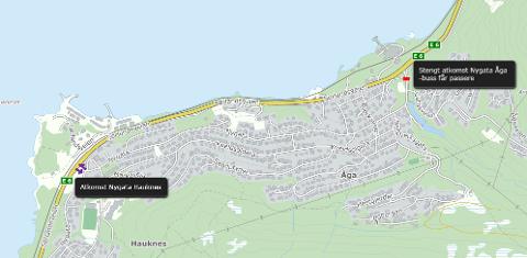 Fra 3. til 4. juli må du til Hauknes for å komme deg til Åga.