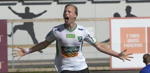 Mål: Andreas Skattum Nordby banket inn 2–0 for HBK i hjemmekampen mot Byåsen på Aka Arena sist helg. Nå jakter HBK sin andre trepoenger på rad.