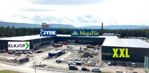 FLYTTER SNART INN: Elkjøp, Jysk, Megaflis og XXL skal fylle det nye handelsbygget på Hvervenmoen. Det gir også mange nye arbeidsplasser.