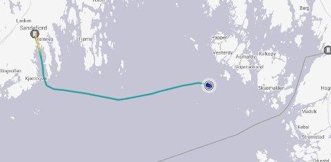 ØVELSE: MS «Color Viking» har tirsdag kveld seilt fra Sandefjord. Skjermbilde: Marinetraffic.com