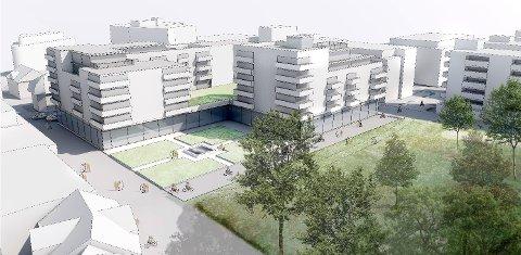 Ny skisse: Guderudkvartalet Utvikling AS har levert et nytt planforslag med 62 leiligheter. Her er gågata til venstre i bildet.