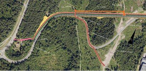 FREMTIDEN: Slik kan Syrbekkveien bli, med den østligste av de to store kurvene rettet ut av en ny veitrasé på nordsiden av dagens.