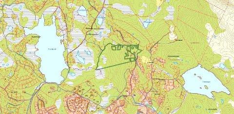 Bygges ut: Grønkinn-området (markert med grønt) som er planlagt utbygd ligger rett nord for Danebu, på over 900 meters høyde.
