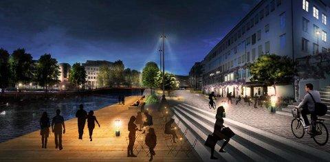 SANDVIKA: I høst starter byggingen av elvepromenaden mellom Kadettangen og Løkketangen. Målet er et pulserende liv hele året. ILLUSTRASJON: DRONNINGA LANDSKAP