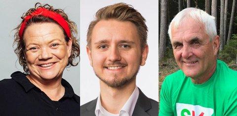 Camilla S. EIdsvold,  Freddy André Øvstegård og Øyvind Fjeldberg,1.-kandidat Fredrikstad SV, stortingsrepresentant Østfold SV og 1.-kandidat Hvaler SV
