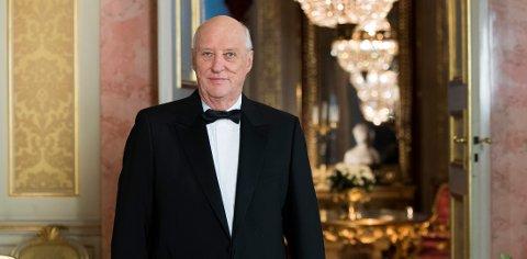 Kong Harald holdt nyttårstalen 2017 på Slottet.