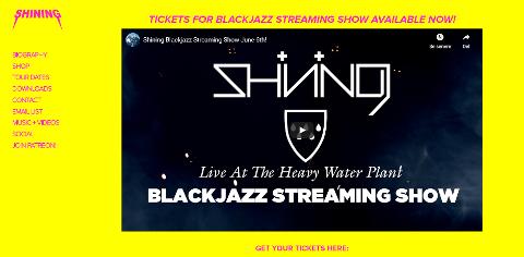 ANNONSERES PÅ NETTSIDA: Shinings nettside lanserer konserten med link til innpass. Konserten kan bli en stor begivenhet i disse korona-tider, og sette Vemork på kartet.