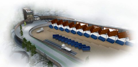 KØMAGASIN: Det planlagte administrasjonsbygget ligger til venstre på tegningen, mens det overbygde arealet øverst skal fungere som et kømagasin for personbiler. Alle ill.: Arkitektene AS/Sweco