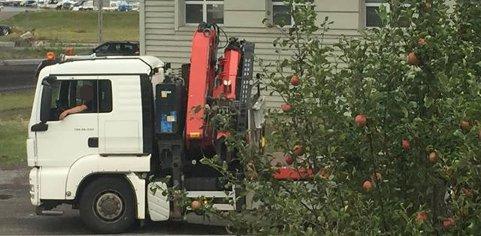 IKKE PARKERINGSFORBUD: I dag er det ikke parkeringsforbud på veien og mange trailersjåfører velger å ta pausen sin her.