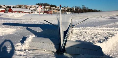 ULYKKESFLY: Det var dette flyet som skled av rullebanen.