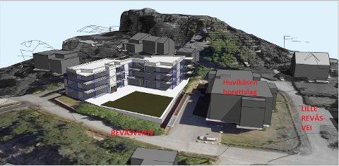 TRE ETASJER: Slik er leilighetsbygget i Revåsveien 5 tenkt å se ut. Her kan det bli 15 enheter. (Illustrasjon: Spir Arkitekter)