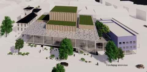 Nytt grep for bedre funksjonalitet og brukervennlighet gir nye tegninger for kulturhuset. Her ser vi et fugleperspektiv av hele kulturhuset fra vest.