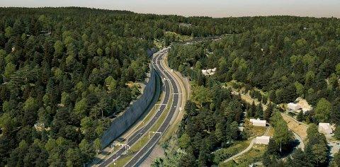BYGGES SNART: Nå nærmer det seg oppstart for et etterlengtet veiprosjekt. Denne veiskjæringen i prosjektet Bjørum-Skaret er ved Bjørkåsen, på vei opp mot Sollihøgda.