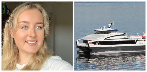 REAGERTE: Maria Hatlø reagerte på kor mange passasjerar som var om bord Norled sin ekspressbåt frå Askvoll til Bergen.