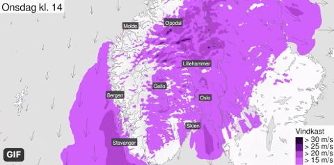Slik ser vindkartet ut for Østlandet onsdag ettermiddag.