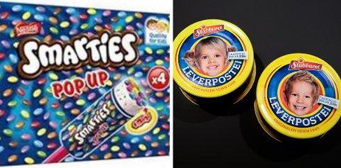 FLERE PRODUKTER: Smarties-is og leverpostei er blant produktene som tilbaketrekkes.