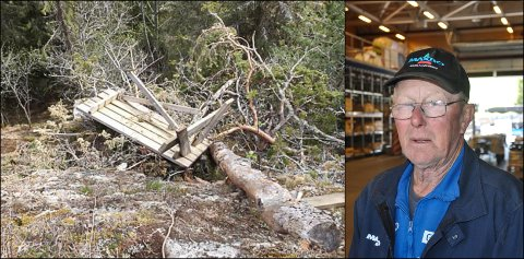ØDELAGT: En av krakkene på Sølvsberget har blitt kastet utofr en skrent, slik at den har blitt ødelagt.