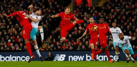 UAVGJORT: 2-2 I kampen mellom Liverpool og West Ham United på Anfiield.