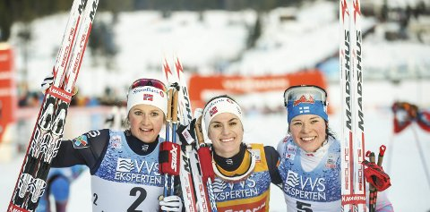 3 x MADSHUS: Ingvild Flugstad Østberg, Heidi Weng og Krista Pärmäkoski gjorde rent bord.Foto: Terje Pedersen / NTB scanpix