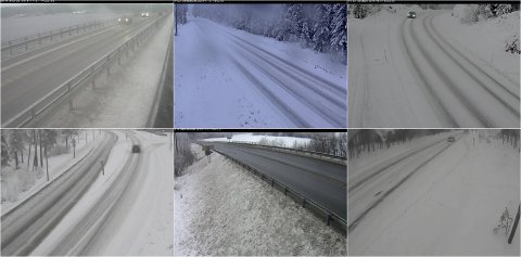VARIERT: Det er et variert trafikkbilde i Vestoppland torsdag ettermiddag. Noen steder har snøen gitt krevende kjøreforhold, mens det andre steder er greie forhold for å komme seg fra A til B med kjøretøy.