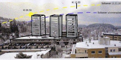 Sol: Skissen anskueliggjør hvordan et signalbygg slik som forslått i områdeplanen vil kunne fortone seg sett fra Kolbotn Terrasse.