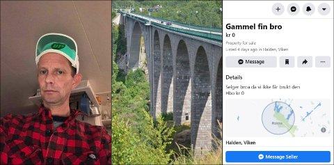 HUMOR I LANGE BANER: Da Rokke-mann Jon Heibø kjedet seg på morgenen 1. april, kom han på et påfunn som tok Facebook med storm. Han la ut den gamle Svinesundsbrua til salgs.