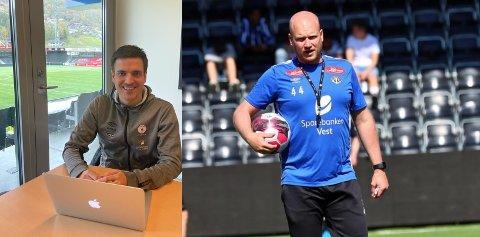VENENE SKAL KNIVA: Fjøratrenar Håvard Øygarden og Sogndal-assistent Marius Lenni Bøe skal laurdag kniva om avansement i cupen.