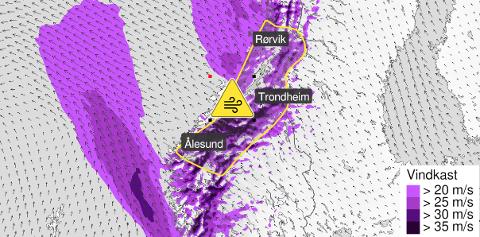 Varselet om gult farenivå ble sendt ut av Meteorologisk Institutt tirsdag ettermiddag.