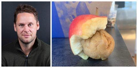 Anders Horne fikk seg en overraskelse da han tok en bit av dette eplet.