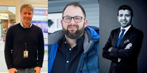 KJØPERS MARKED: Alle disse tre meglerne ønsker flere fritidseiendommer på markdet. Så skal du selge hytta di kan det være riktig tidspunkt nå. Fra venstre ser vi: Nils Helge Kirkbakk, Ole Peder Sjøvold og Yama Meskinyar.